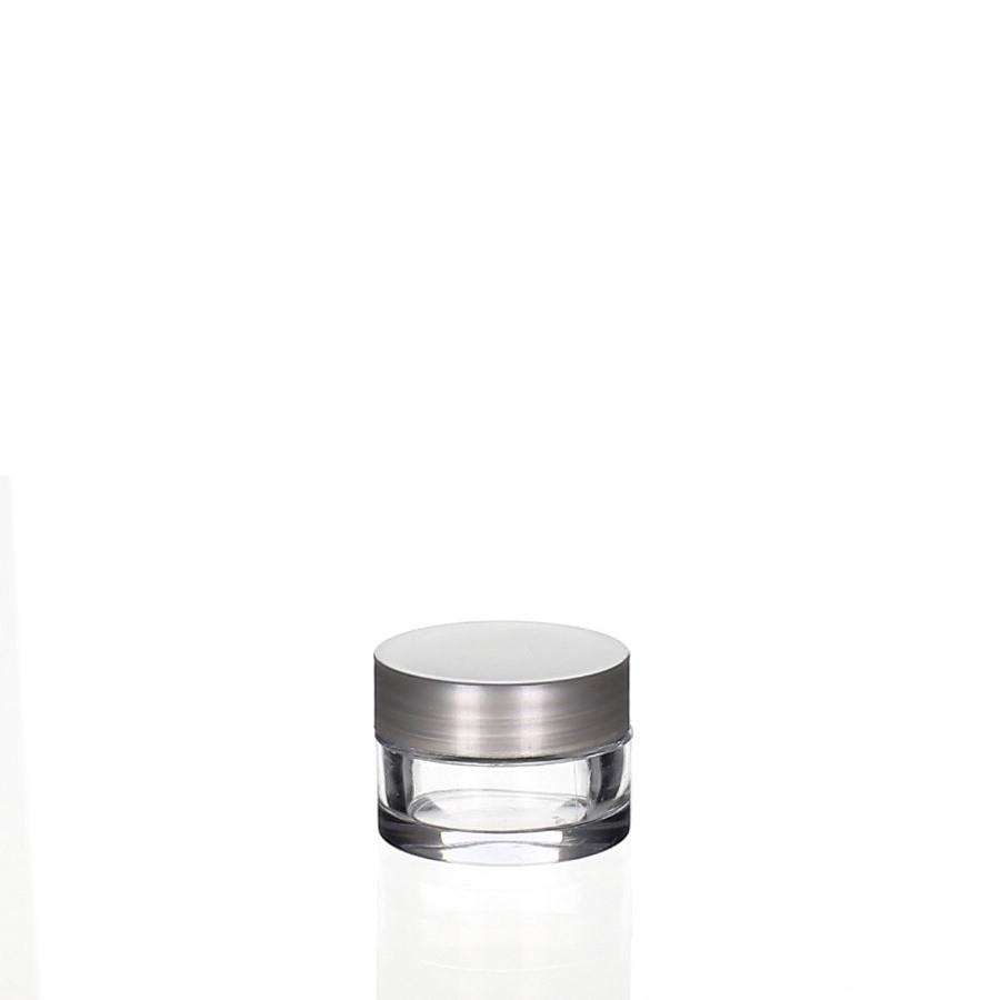 Round 3ml Klar & Deckel silber